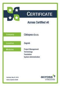 Certifikat Across v6