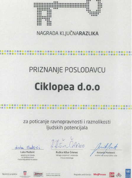 """Ključna razlika"" Diversity Award for Ciklopea 