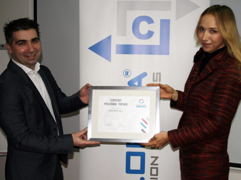 Ciklopea receives Employer Partner Certificate for 2014